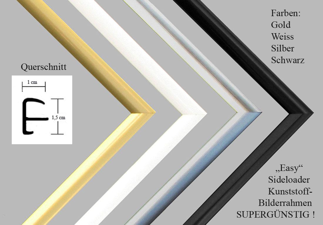 easy kunststoff bilderrahmen 40 x 70 hochglanz schwarz sideloader mit acrylglas ebay. Black Bedroom Furniture Sets. Home Design Ideas