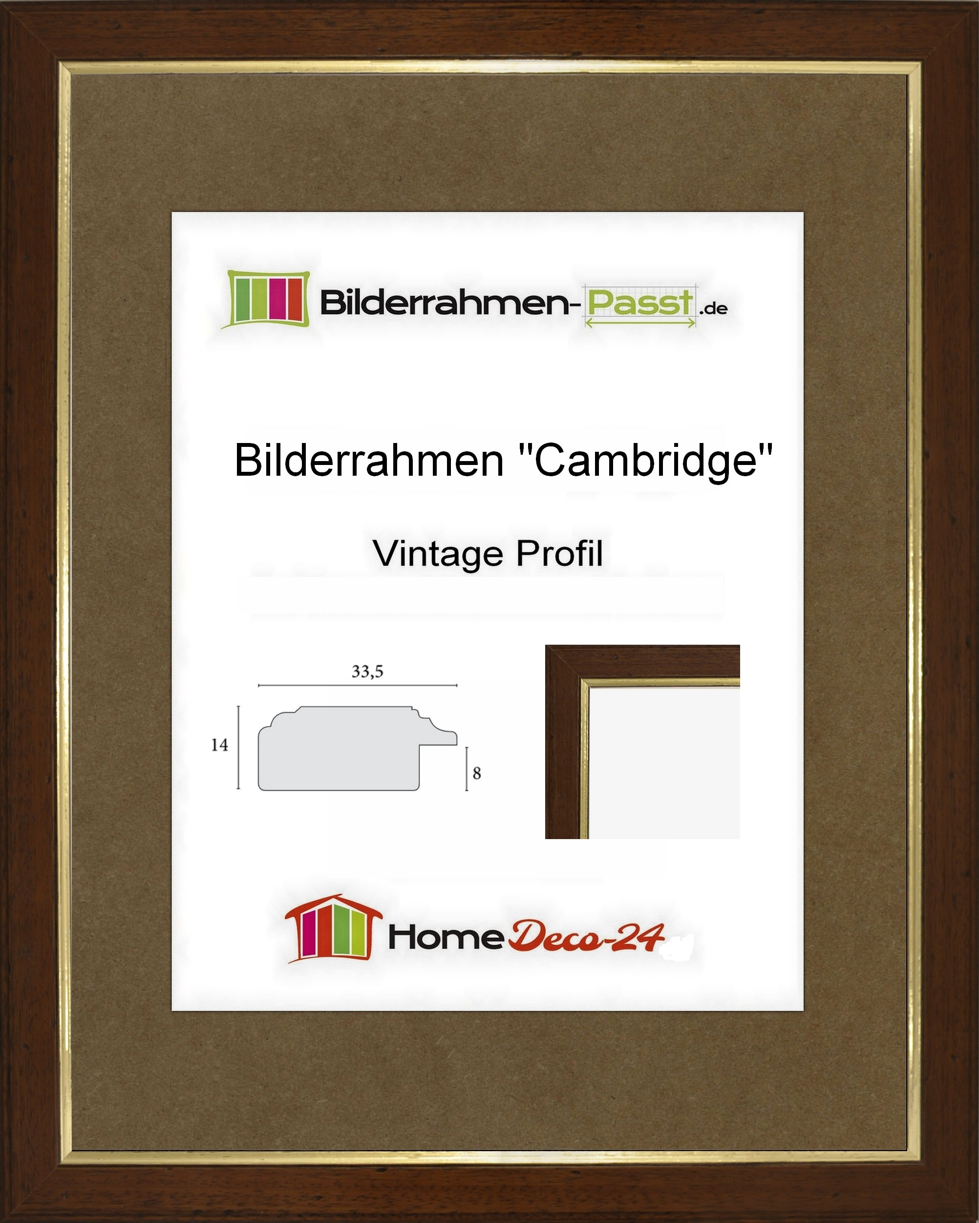 cambridge 73 x 87 cm vintage massivholz bilderrahmen nussbraun antik 87 73. Black Bedroom Furniture Sets. Home Design Ideas